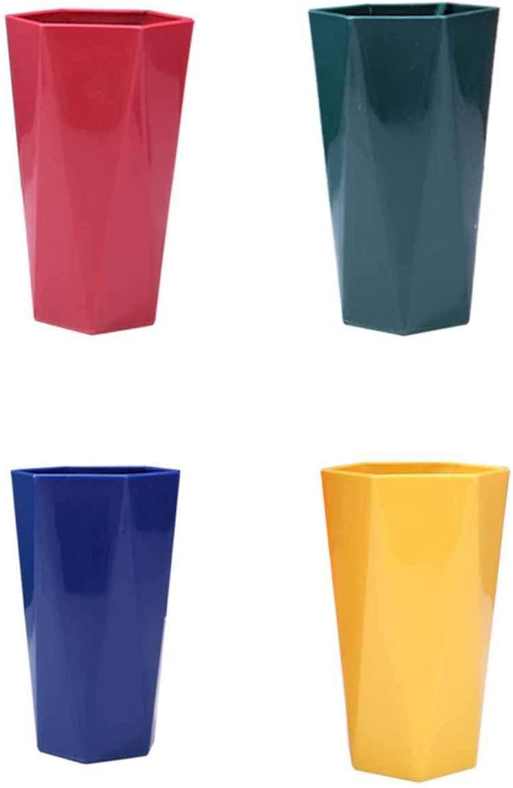 LSJZZ 가구 세척제 컵 학생 기숙사 칫솔 컵 치아 실린더 컵 간단한 설정한 기하학적인 플라스틱 화장실 컵