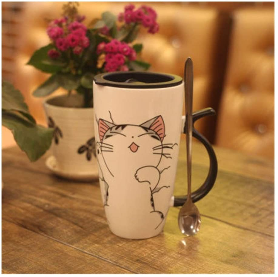 JUNRANXINGPIFABU 스타옹 고양이는 세라믹 잔잔 한 OFFICE 물 컵 우유 컵 뚜껑을 가진 숟가락(색상:고양이 자 컵+숟가락)
