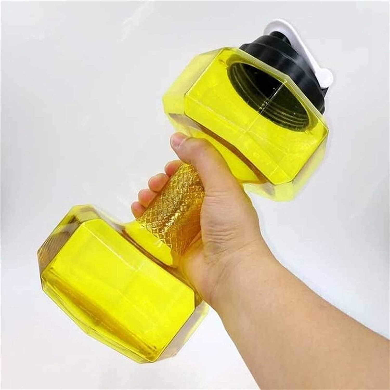 LUXMAX 절묘한 스포츠 물 컵 큰 물병 야외 스포츠 병 2.2 리터 PETG 령 스포츠를 실행하는 운동 피트니스 흔들림 무게 048(색상:노랑)(색상:노랑)