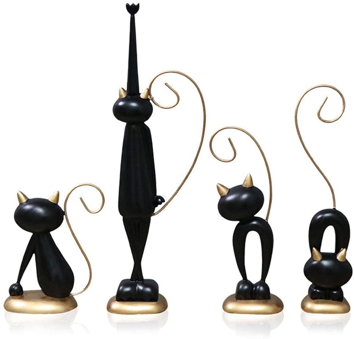 KOIYPW 손으로 새겨진 고양이 동상이 모델 옥외 | 실내 고양이 조각 추상적이고 흥미로운 고양이 동상을 주거 장식 디자인을 고양이 설정(색상:고양이의 설정)