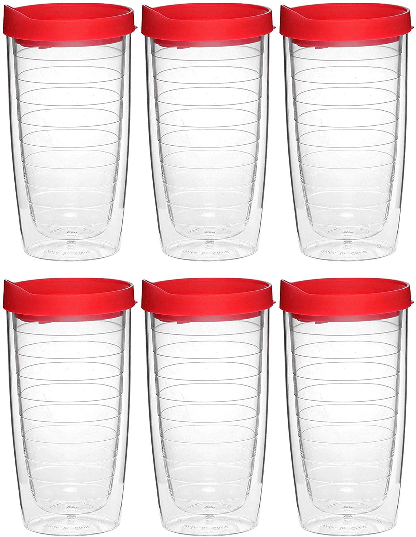 이중 벽 아크릴 텀블러-14 온스-6 팩-뚜껑이있는 플라스틱 커피 텀블러 컵-빨간색