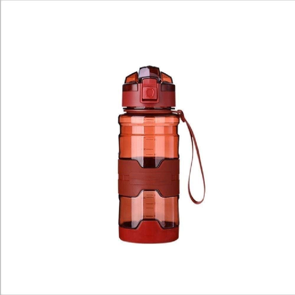 LYRSRX 스포츠 병 슬립 SHATTERPROOF 대용량 공간 컵 뚜껑 오프닝 버튼 500ML 투명 플라스틱 컵(크기:B)