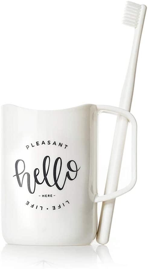 일반 브랜드 KILO-24K 가정용 치아 브러쉬 워시 컵 핸들 PVC 텀블러 구강 세척제 컵 욕실 장식(WHITE-71010CM)