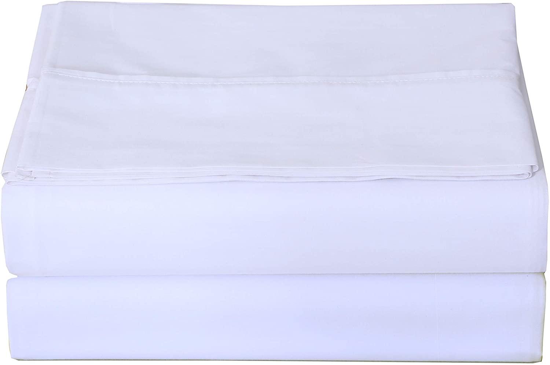 ZOYER 평판-1 팩 브러쉬 마이크로 화이버 상단 시트-BREATHABLE 침대 시트 수축&이 저항하는 편평한 침대 시트(여왕 화이트)