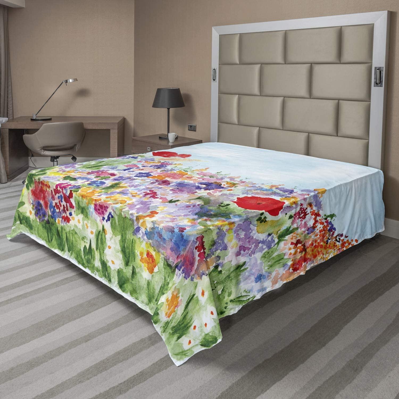 AMBESONNE 수채화 꽃 평판 여름 꽃 정원 잔디와 꽃을 사랑한 그림을 인쇄하고 부드럽고 편안한 최고의 시트를 장식 침대 1 개 킹사이즈 녹색 빨간색