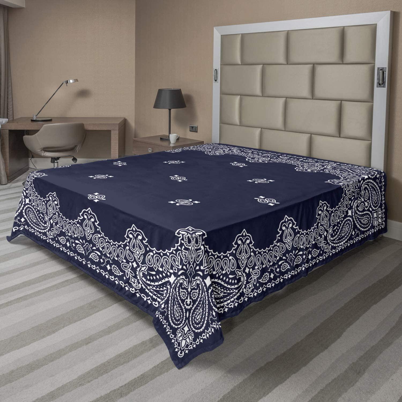 AMBESONNE 페이즐리 플랫 시트 패턴 중동 영향 이미지 부드러운 편안한 탑 시트 장식 침구 1 조각 퀸 사이즈 블루 화이트