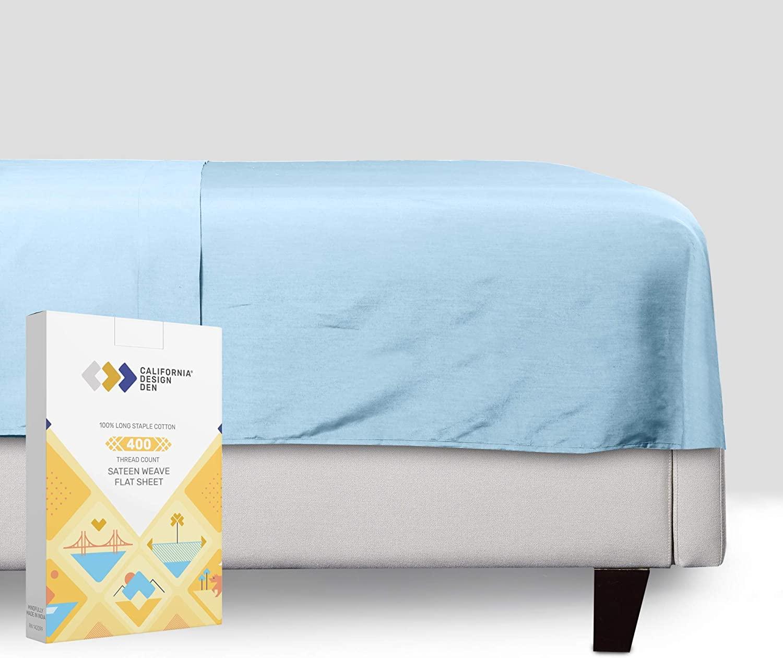 킹사이즈 면 평 시트-하늘색 컬러 400 스레드 수 럭셔리 연약한 100%년 면 새틴 직물 침구를-최고의 호텔질 멋진 시트 침대를 위한 가볍고 통기성