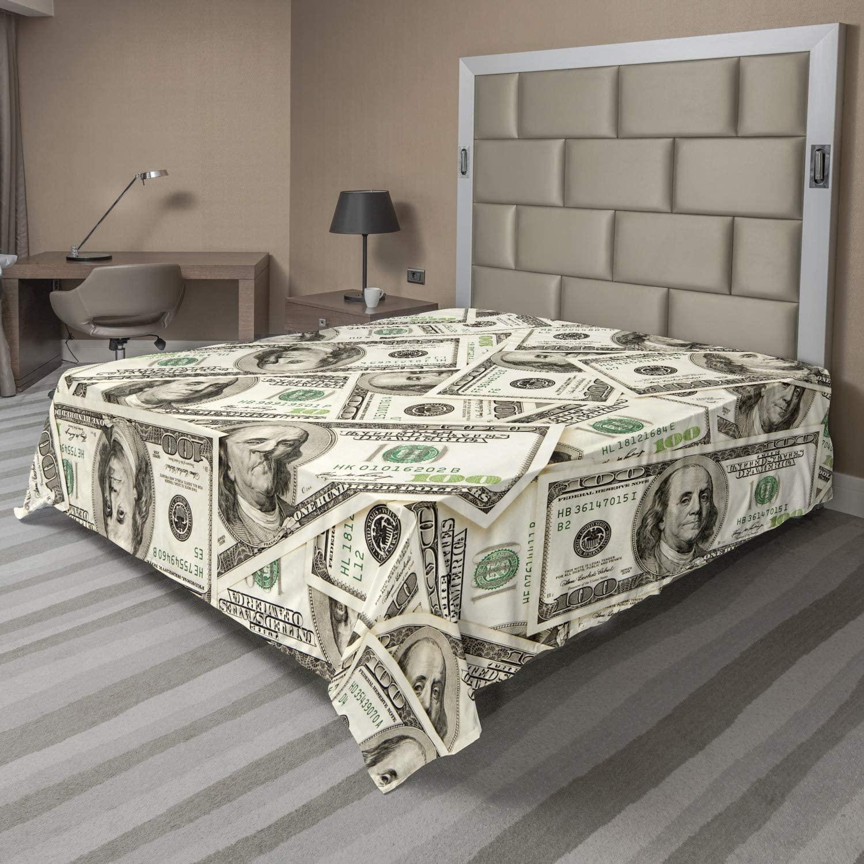 AMBESONNE 돈을 평판 달러의 힙 패턴 통화는 더미와 벤자민 프랭클린 초상화 부 테마 부드러운 편안한 최고의 시트를 장식 침대 1 개 퀸사이즈 녹색 회색