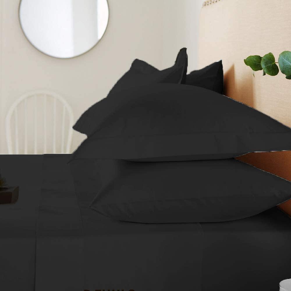 호텔 침대 시트-추가 소프트 깊은 포켓을 쉽게에 맞게 통기성 및 냉각 주름 무료 100%면-4PC(블루 실버 퀸사)