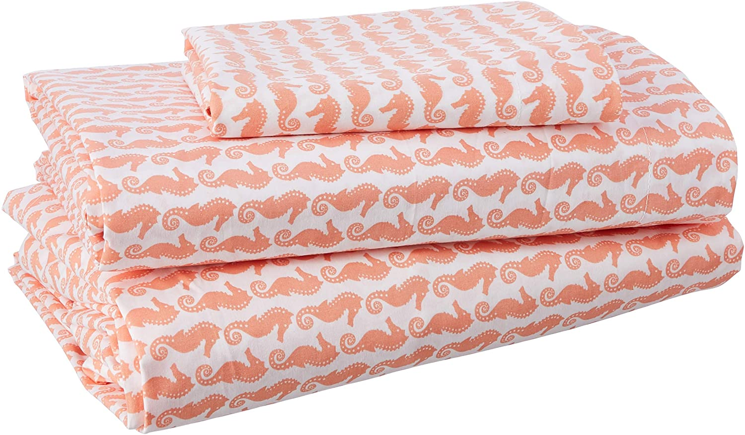 POPPY&FRITZ | PERCALE COLLECTION | BED SHEET SET-100%COTTON CRISP&COOL LIGHTWEIGHT&MOISTURE-WICKING BEDDING TWIN XL SEAHORSES