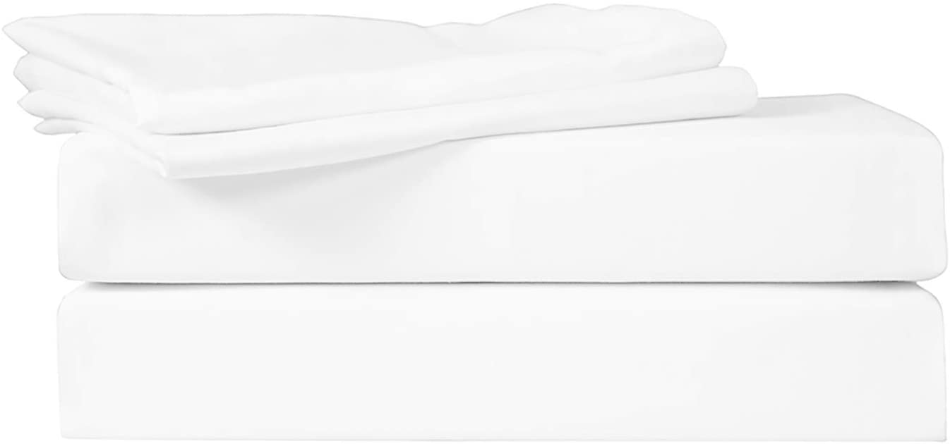 HOTEL COLLECTION 400 TC 100% COTTON SATEEN SOLID WHITE PAIR OF KING FLAT BED SHEETS