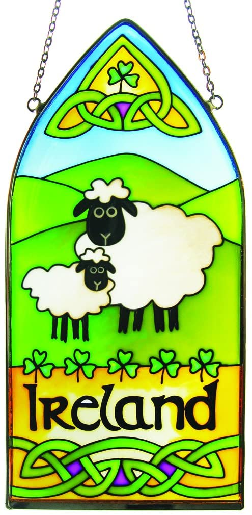IRISH SHEEP GOTHIC STAINED GLASS WINDOW HANG - IRELAND