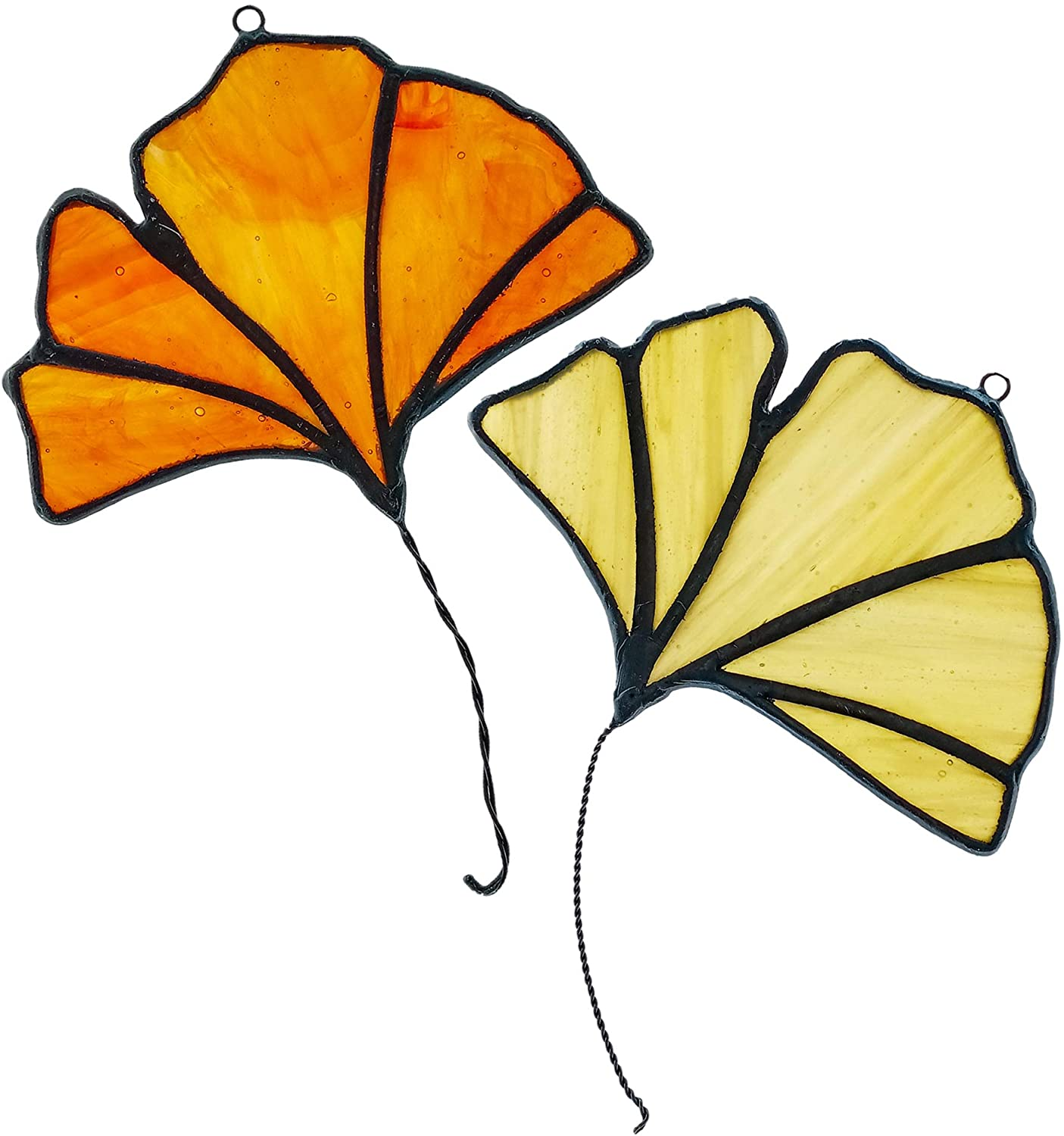 HAOSUM STAINED GLASS WINDOW HANGINGS GINKGO TREE LEAF FALL AUTUMN DECORATION 2PCS 4X3 INCHES