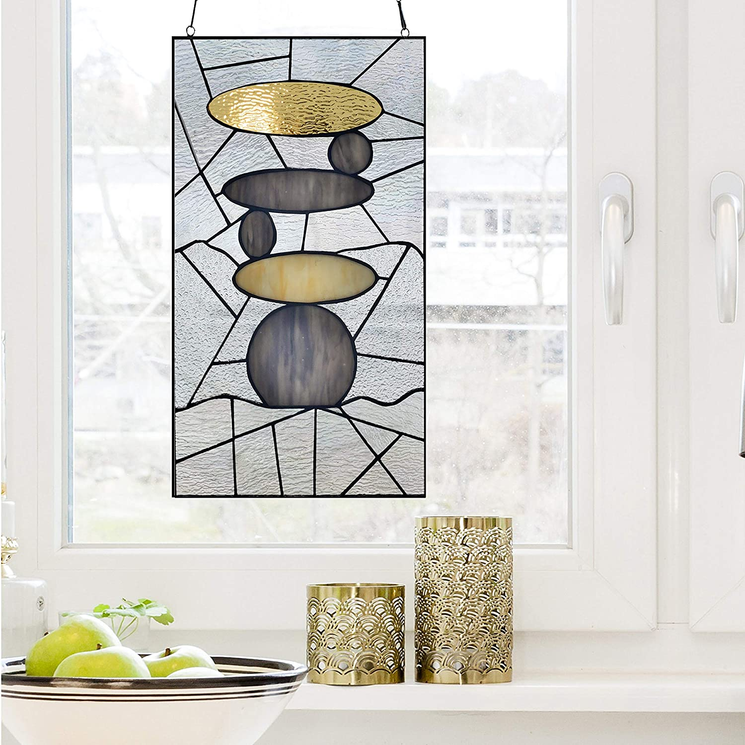 UKN 18 H NAMASTE STAINED GLASS WINDOW PANEL GREY MODERN CONTEMPORARY TRANSITIONAL RECTANGULAR NATURE INCLUDES HARDWARE