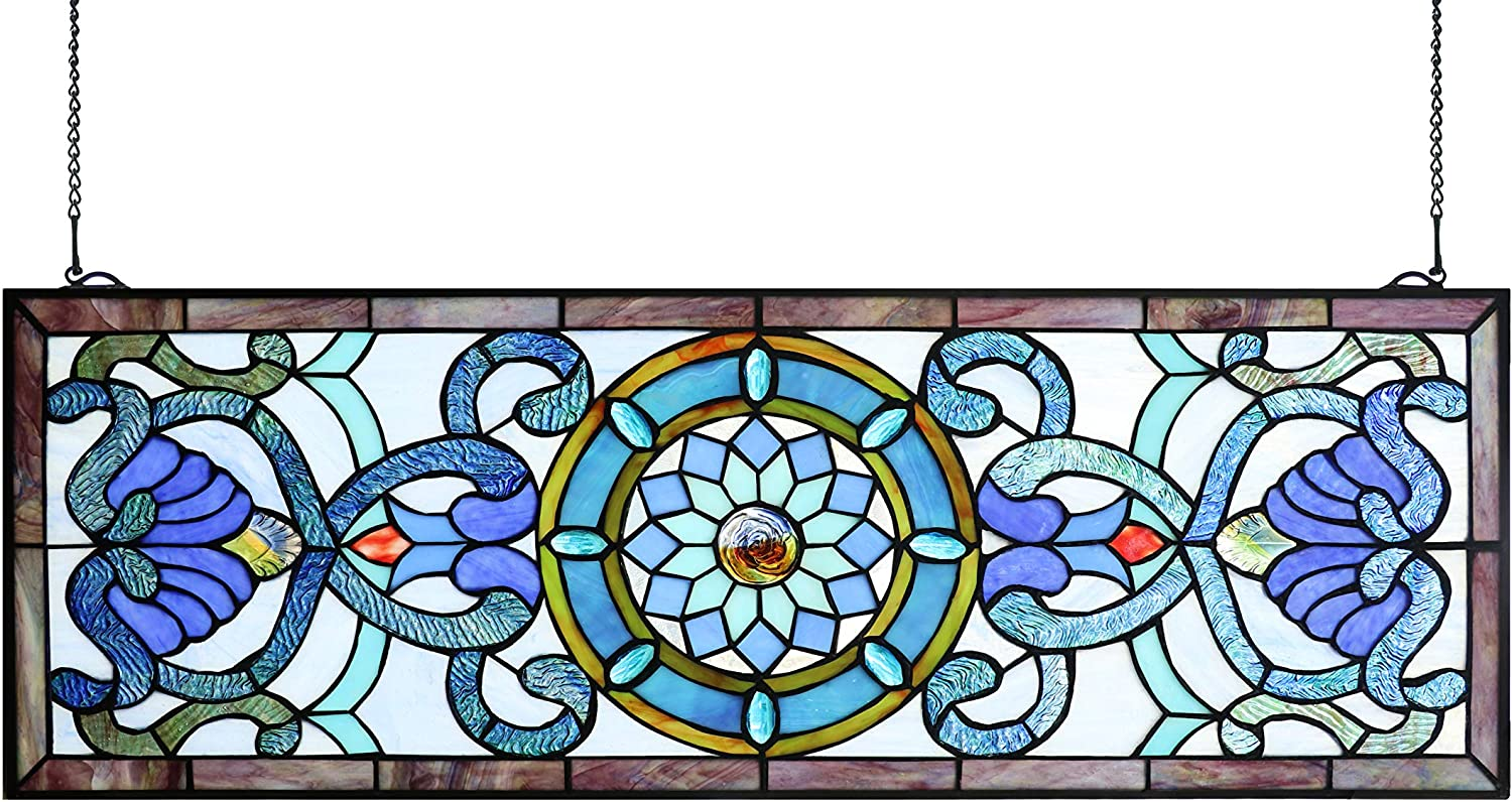 YOGOART EXTRA LARGE HORIZONTAL 35 INCH BLUE VICTORIAN STAINED GLASS WINDOW PANELS HANGING TRANSOM WINDOW 12 INCH WIDE