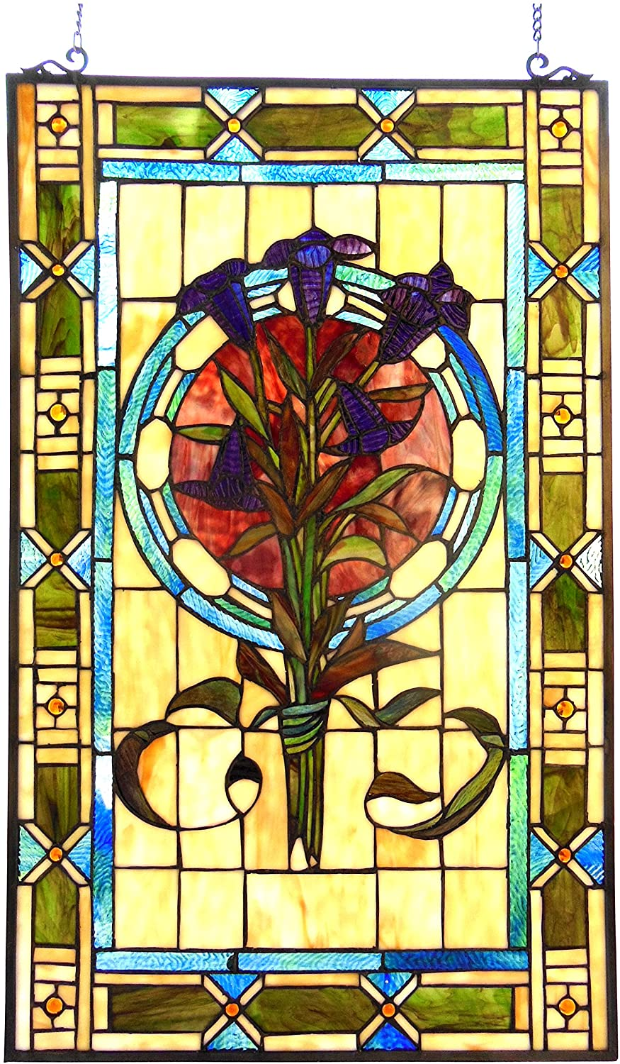 CHLOE LIGHTING 20X32 TIFFANY-GLASS TULIPS DESIGN WINDOW PANEL