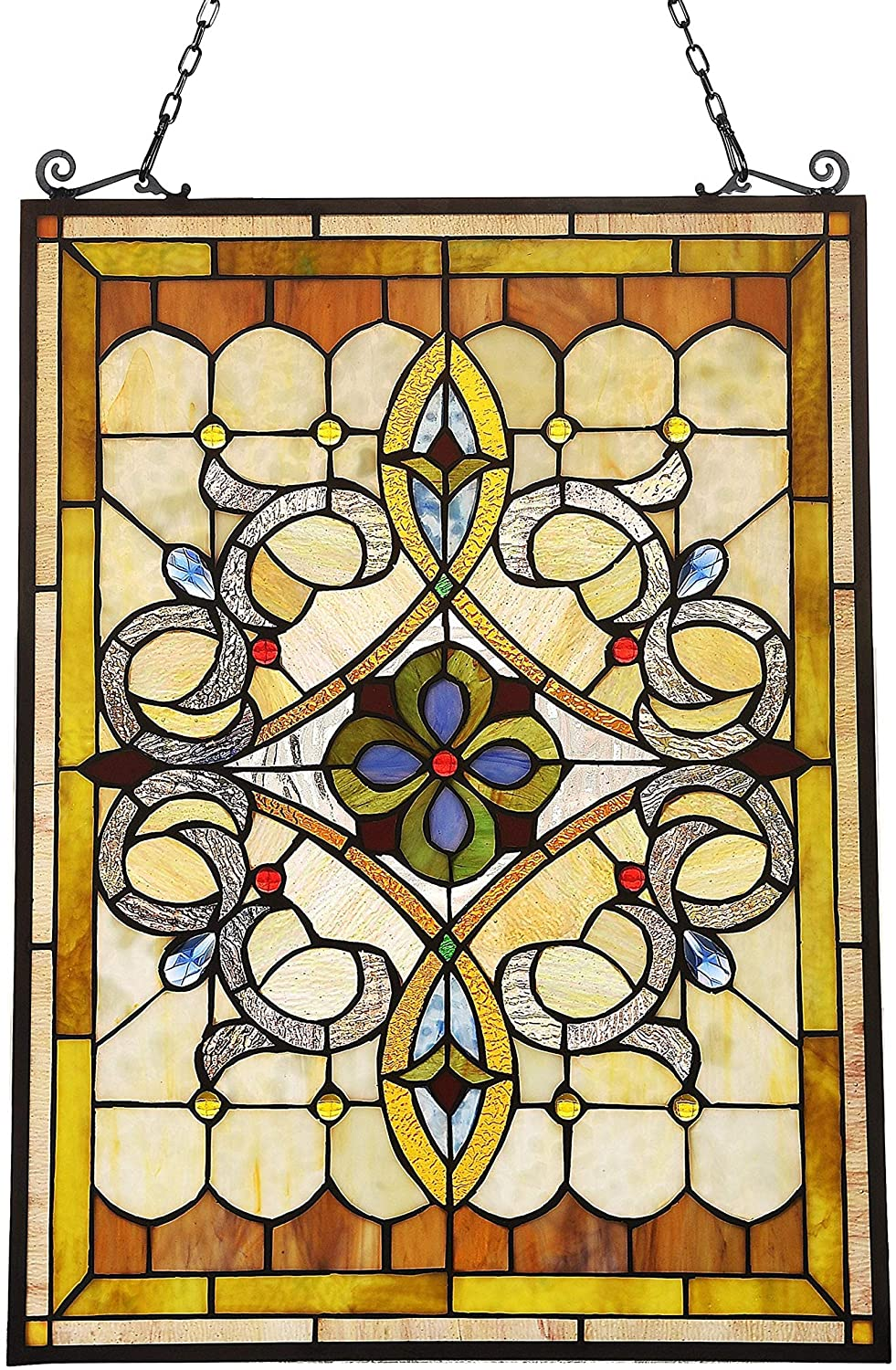 TIFFANY STYLE WINDOW PANEL | SUNCATCHER MULTI COLOR TRADITIONAL RECTANGULAR VICTORIAN GLASS INCLUDES HARDWARE