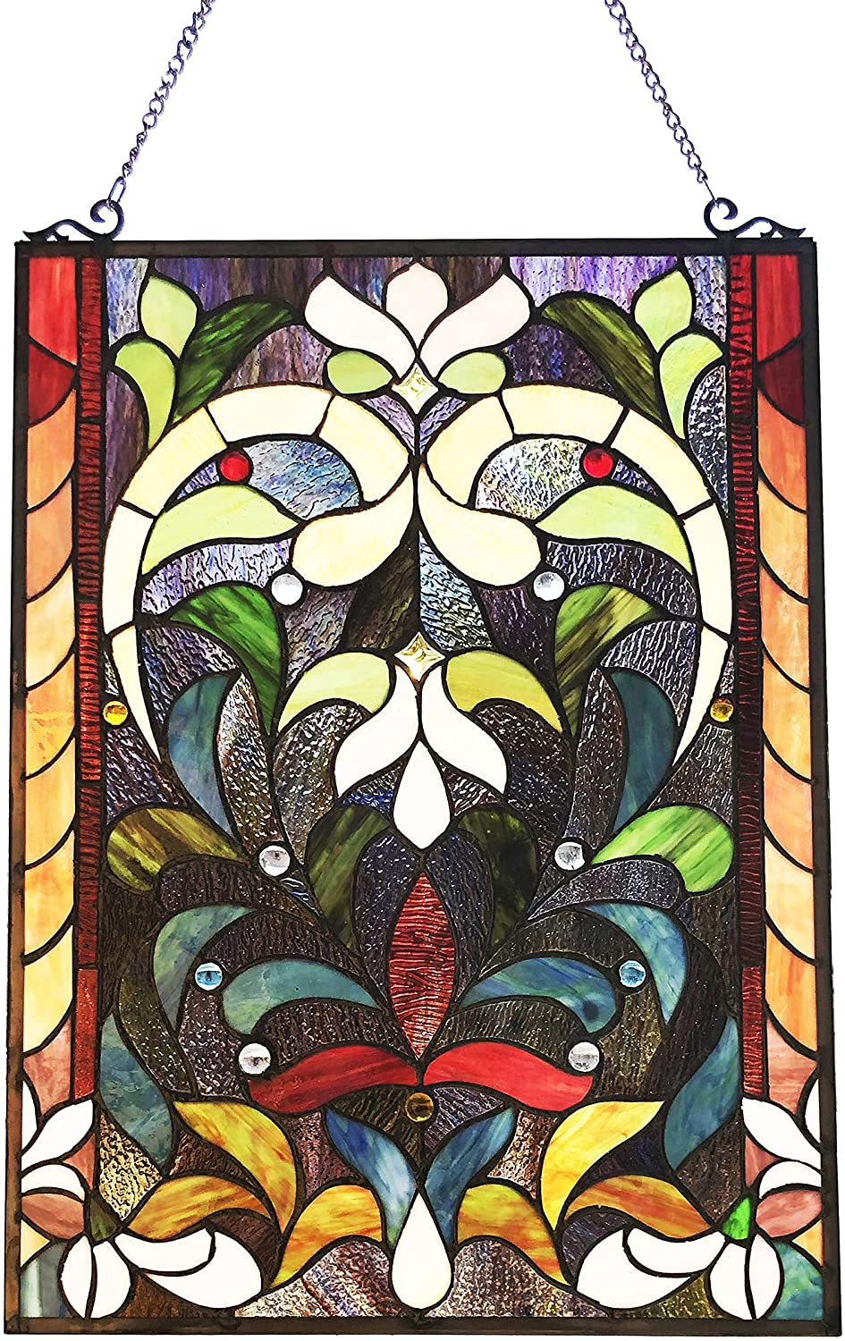 RADIANCE GOODS TIFFANY-STYLE VICTORIAN STAINED-GLASS WINDOW PANEL 24 HEIGHT