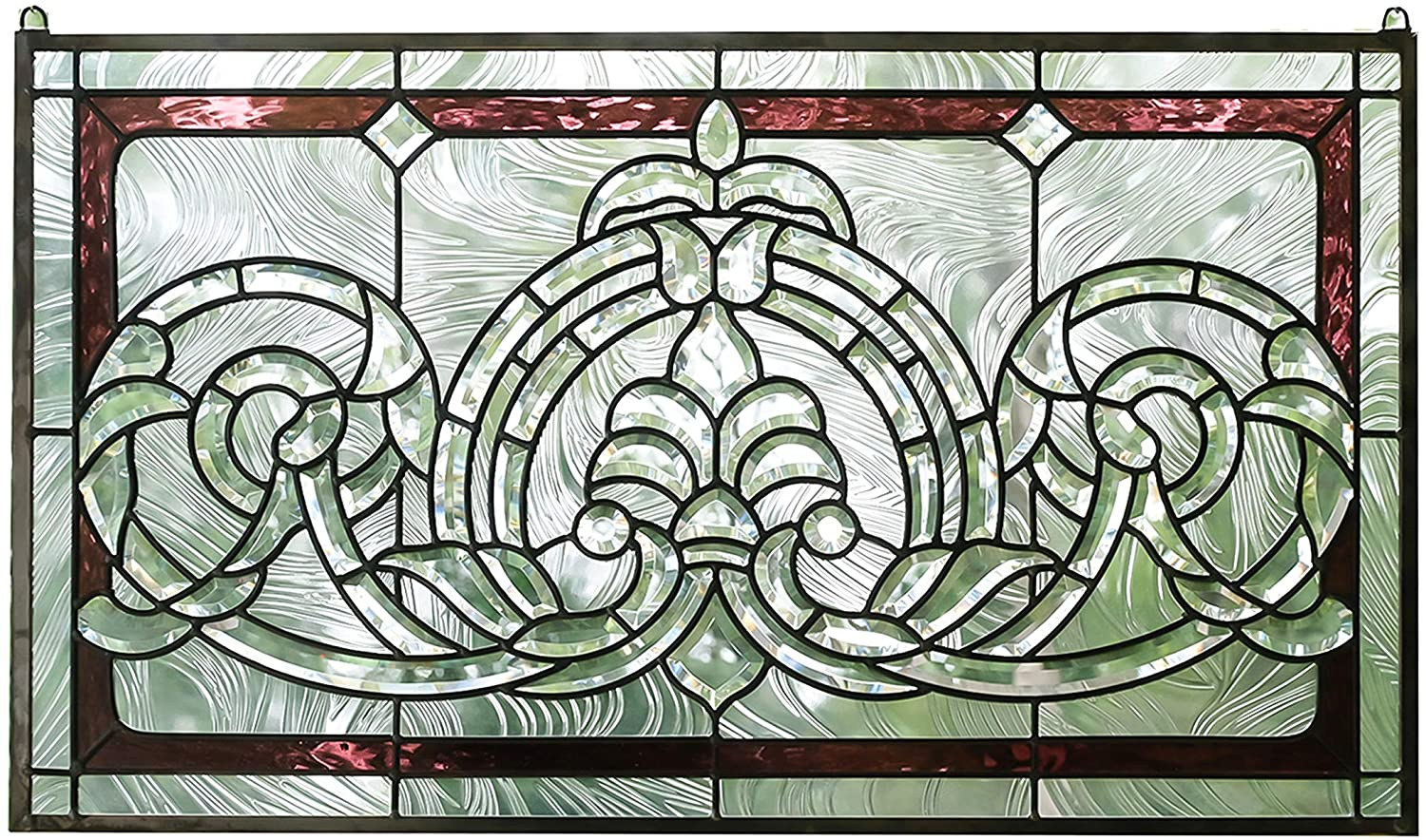 HANDCRAFTED STAINED GLASS CLEAR BEVELED WINDOW PANEL 34 W X 20 H
