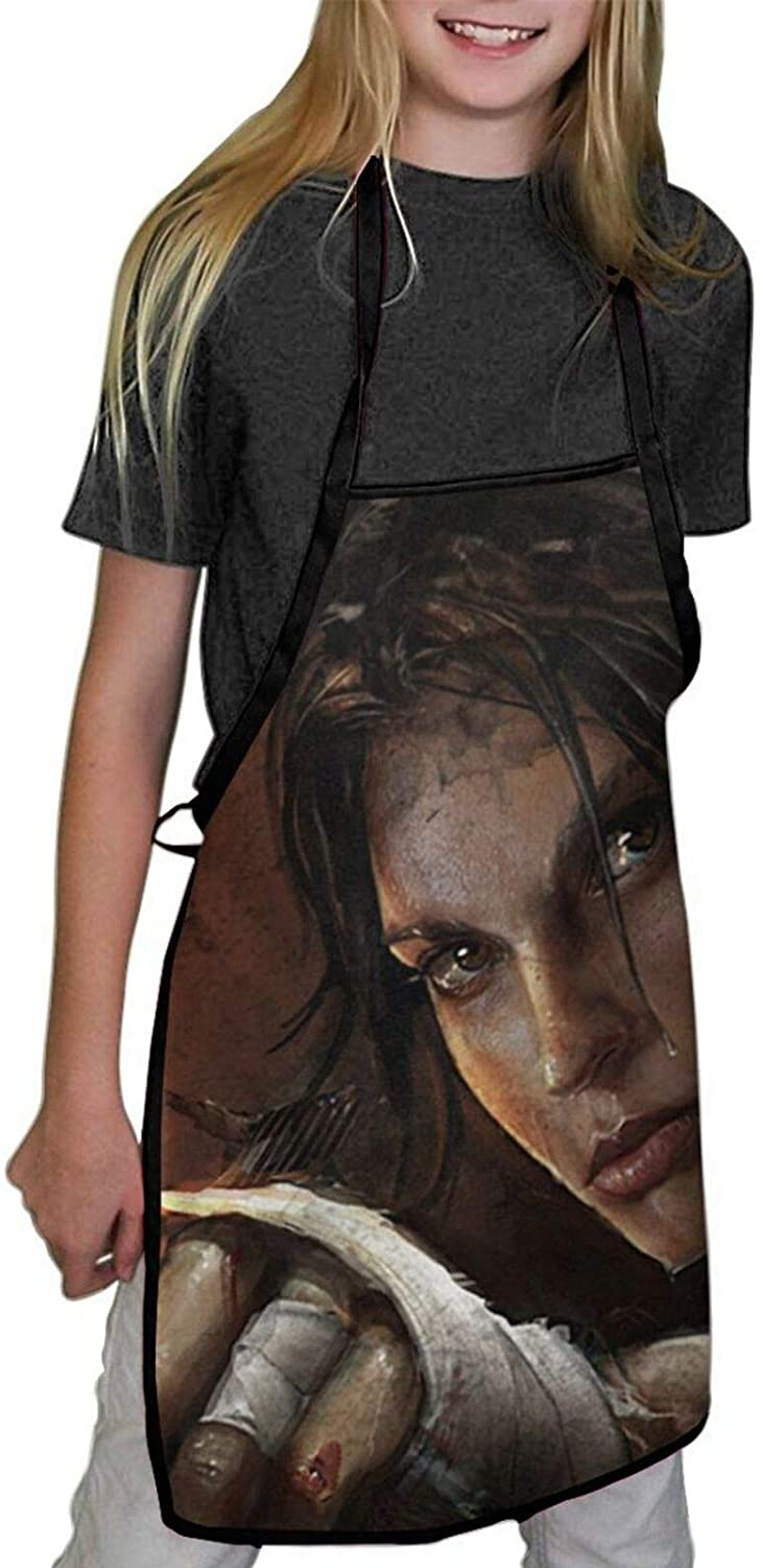 HXUEDAN TOMB RAIDER CHILDREN`S SEAMED APRON DURABLE SOFT AND BRIGHT AND SUITABLE FOR COOKING AND PAINTING APRON