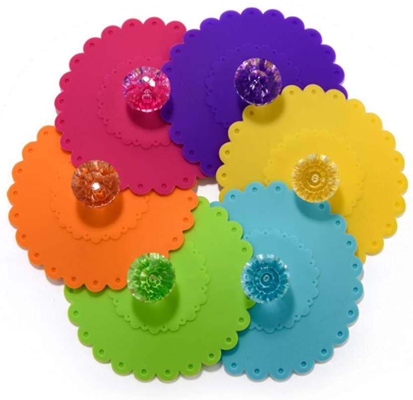 8 개까지 누수 방지 실리콘 유리 컵을 덮여 꽃 모양의 커피는 반대로 먼지 음료를 뚜껑을 가진 PVC 명확한 다이아몬드를 위한 뜨거운 음료 컵 COVER(컬러 임의의 10.5CM   4.1 인치 )