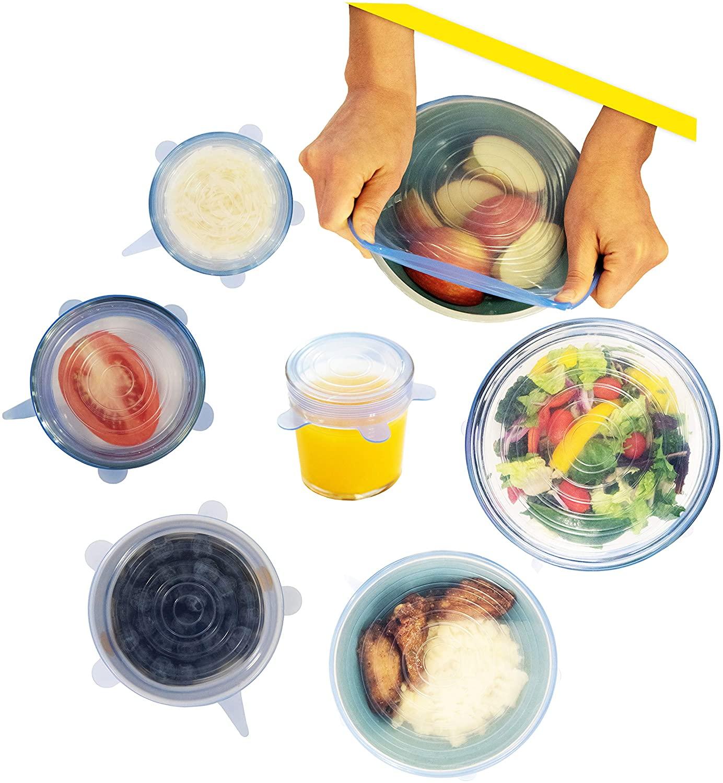 실리콘 포장 스트레칭 및 봉인을 다룹(튼튼한 BPA-FREE 재사용할 수 있는 전자 레인지 안전 FLEX 뚜껑)팽창할 수 있는 보편적인 유출 방지를 위한 적합은 크고 작은 그릇 음식 절전 저장 용기 항아리(6 팩정)