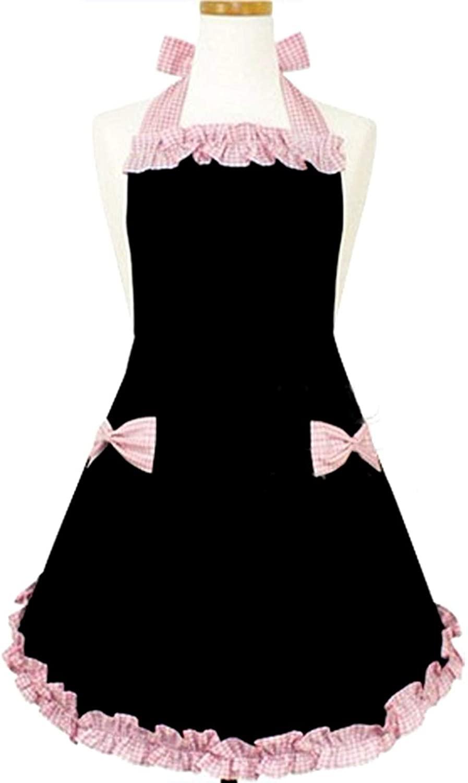 HYZRZ 귀여운 패션 위해 앞치마를 여성 리스 요리 레스토랑이 부엌 가정 요리의 요리사 턱받이 앞치마 옷을 선물(블랙)