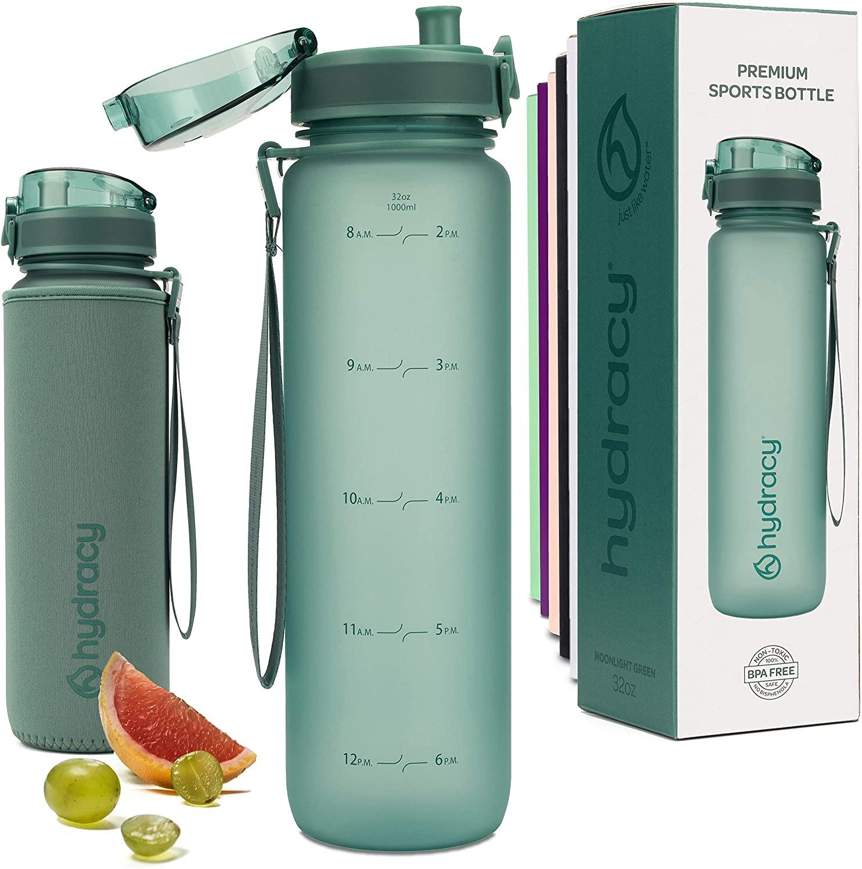 HYDRACY 물 한 병과 함께 시간을 마커형 1 리터 32OZ BPA 무료 물병-누출 방지 및 아니 땀 헬스 병을 가진 과일 주입기 스트레이너 이상적인 선물을 위한 피트니스 또는 스포츠 및 야외에서