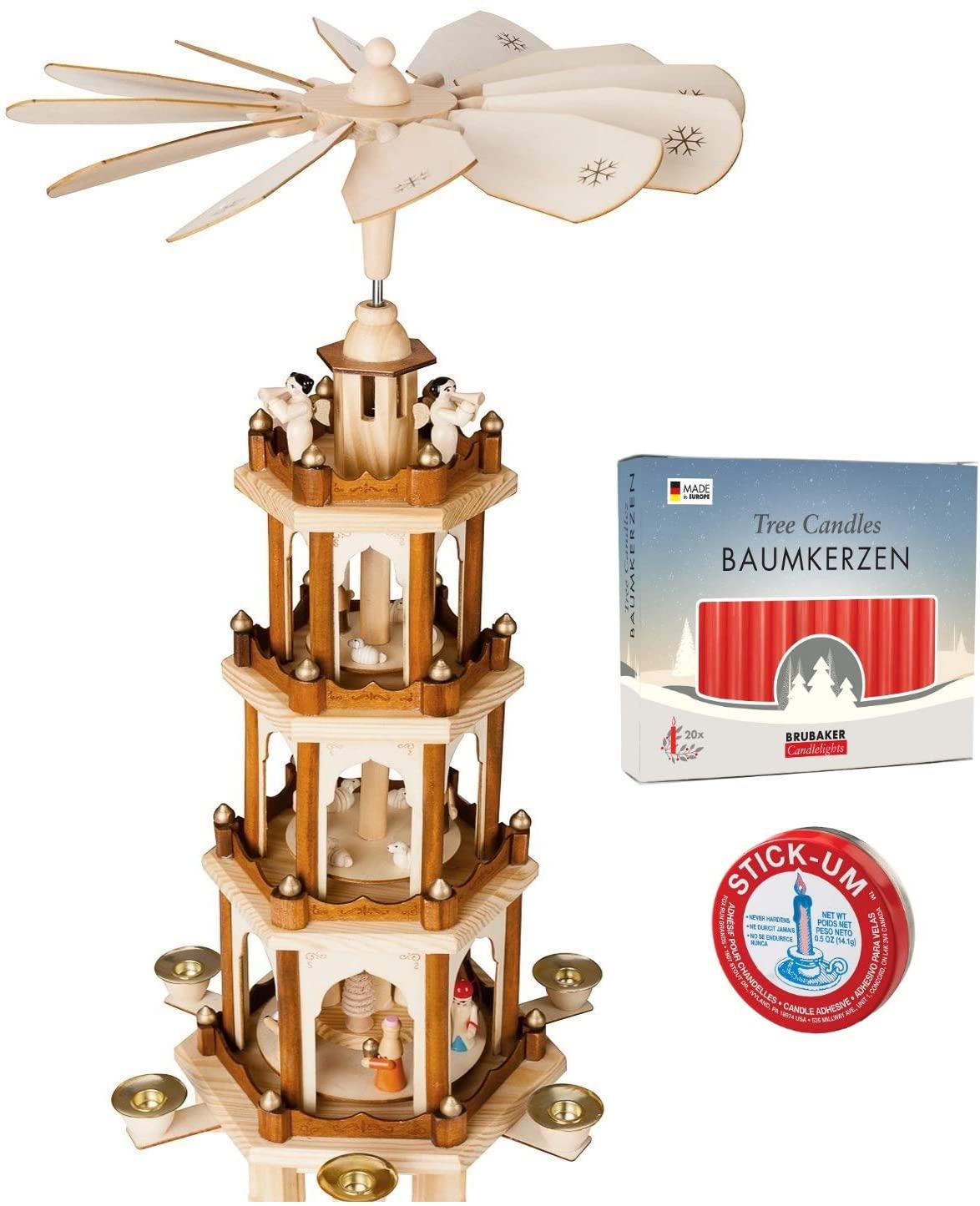 BRUBAKER 크리스마스 피라미드 4 계층 24 인치+20 빨간색 촛불+스틱 UM 촛불 접착제 세트