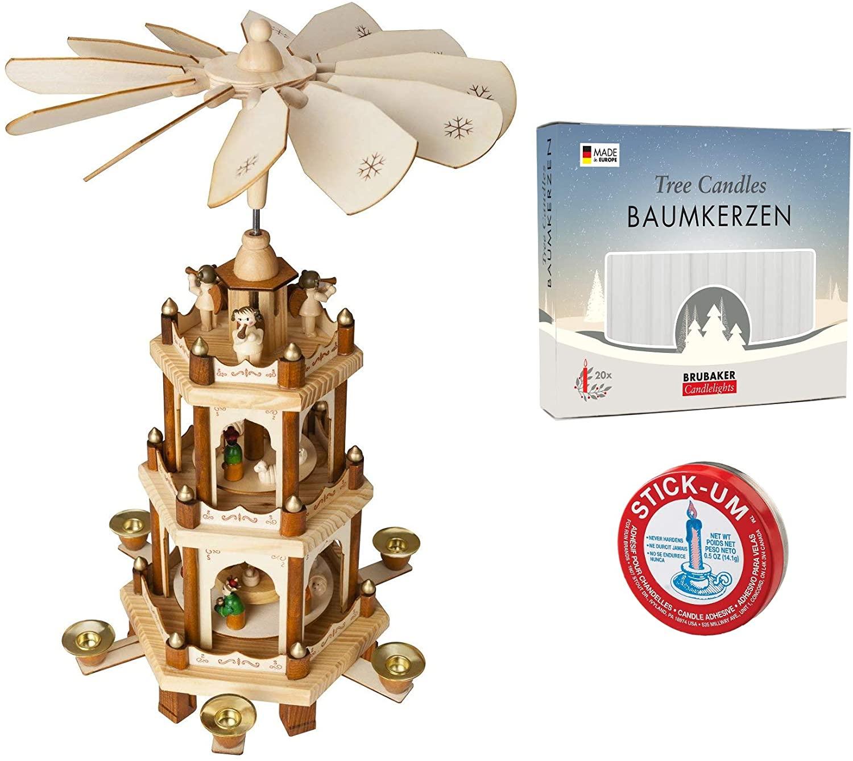 브루베이커 크리스마스 피라미드 3-티어 18 인치 + 20 화이트 캔들 + 스틱 음 촛불 접착제 세트