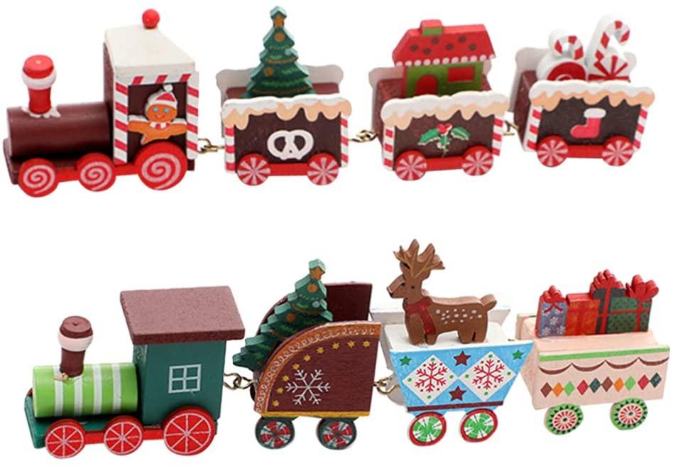 장난감 도나 2PCS 크리스마스 파티 유치원 장식을위한 귀여운 나무 미니 크리스마스 기차 장난감 장식품