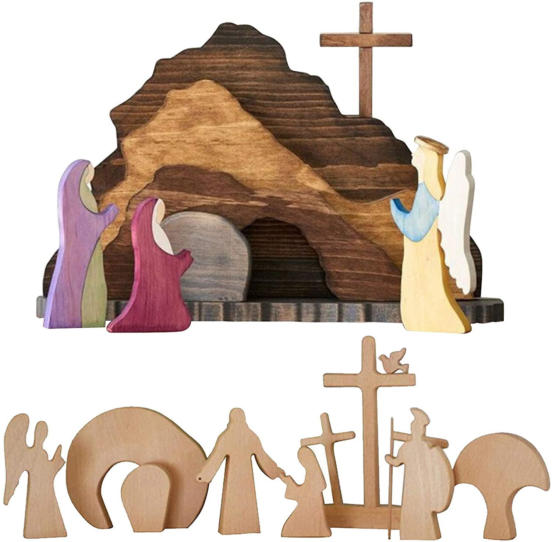 LUANXIU 부활절 장면 나무 부활절 장식 나무 십자가 부활 장면 출생 세트 (B)