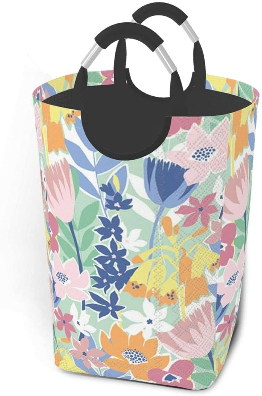 BLUE FLORAL LAUNDRY BASKET FOLDABLE FABRIC LARGE LAUNDRY BASKET FOLDABLE DIRTY CLOTHES BAG HANDLE WATERPROOF PORTABLE FOLDABLE SQUARE DIRTY CLOTHES BAG