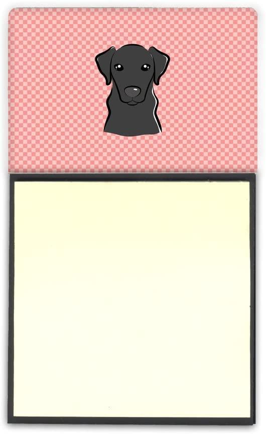 캐롤라인의 보물 BB1235SN 바둑판 핑크 검 래브라도 REFIILLABLE 스티커 메모 홀더 또는간 노트 디스펜서 큰 멀티 컬러