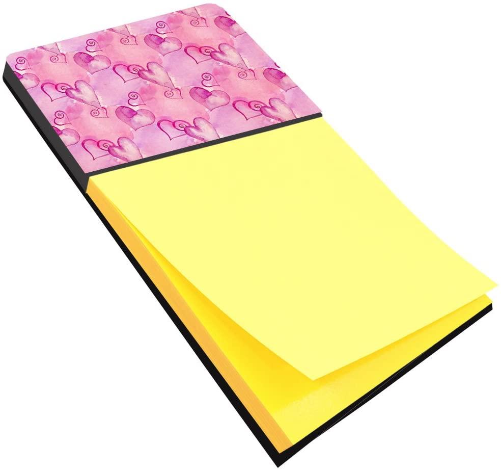 캐롤라인의 보물 BB7564SN 수채화 핫 핑크 하트 스티커 메모 홀더 대형 여러 가지 빛깔의