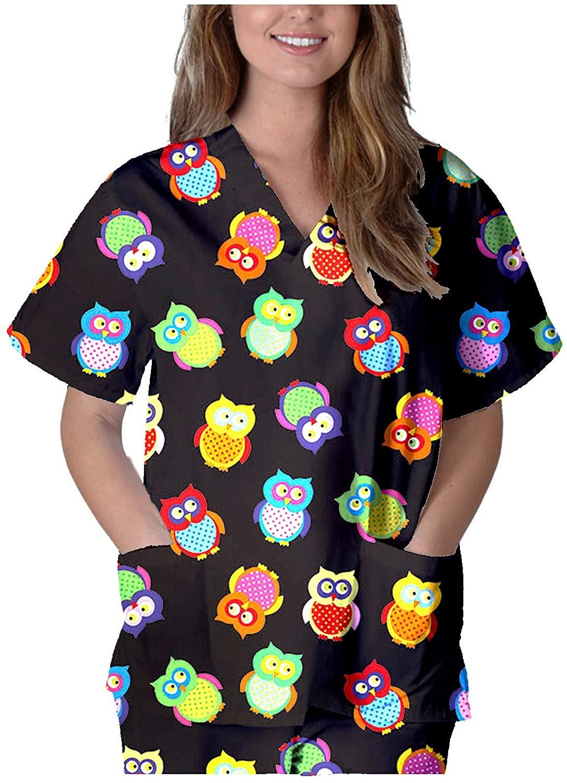 여자 V 목 느슨한 셔츠에 대 한 귀여운 인쇄 풀 오버 멀티 포켓 탑스 짧은 소매 작업 유니폼