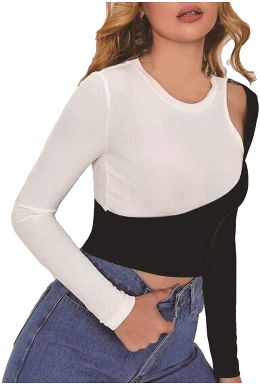 여성을위한 긴 소매 운동 자르기 탑스 섹시한 STRAPLESS 컬러 블랙 SPLICING 슬림 피트 티 긴 소매 CREWNECK 풀오버 블라우스