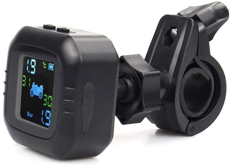 TANGIST 무선 LCD 오토바이 타이어 압력 모니터링 시스템 2EXTERNAL 센서로 실시간 모니터링 비정상적인 경보 모토 타이어 PSI 도구