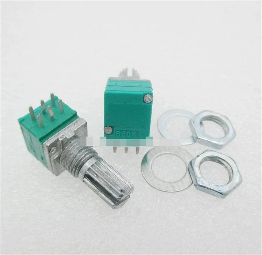 5 개   몫 6PIN RK097G 듀얼 전위차계 B50K 스위치 오디오   전력 증폭기   씰링 전위차계 핸들 길이 15MM