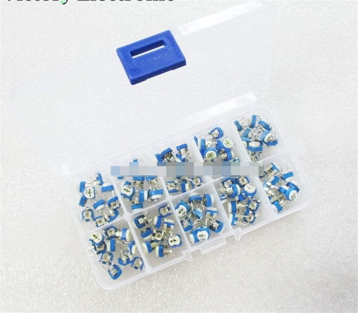 100 개   상자 RM065 탄소 필름 수평 전위차계 구색 키트 10 값 가변 저항 500R-1M