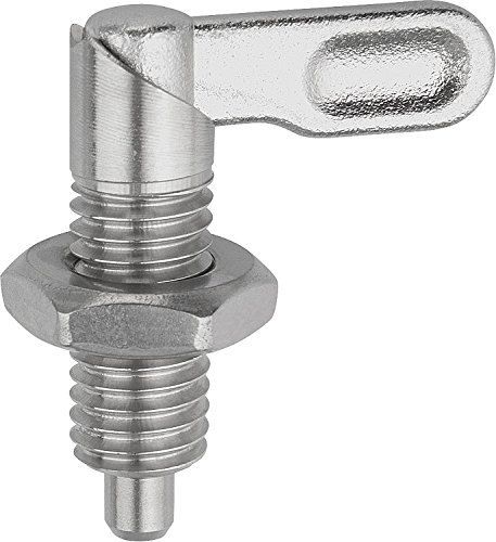 KIPP 03099-10510A6 STAINLESS STEEL CAM ACTION INDEXING PLUNGER STYLE B INCH NATURAL FINISH 10 MM LOCKING PIN DIAMETER 5 | 8-11 THREAD