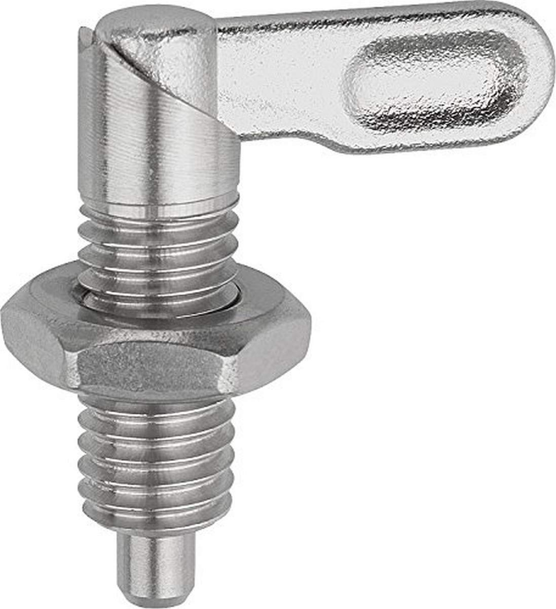 KIPP 03099-10506A6 STAINLESS STEEL CAM ACTION INDEXING PLUNGER STYLE B INCH NATURAL FINISH 6 MM LOCKING PIN DIAMETER 5 | 8-11 THREAD
