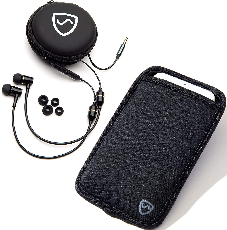 SYB 공기 튜브 스테레오 안티 방사선 헤드셋 EMF 보호(블랙 이어폰)+SYB 전화 파우치 EMF 방사선 보호 슬리브 XL