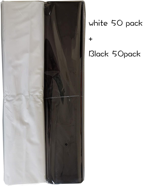 100 팩 20X20 과 함께 2 밀 추가 두께 상품 플라스틱 광택 있는 소매 가방 거푸집 절단 손잡이 선물 쇼핑 백을 위한 부티크 파티 선물 생일 재상할 수 있는 100%(백색   검정)