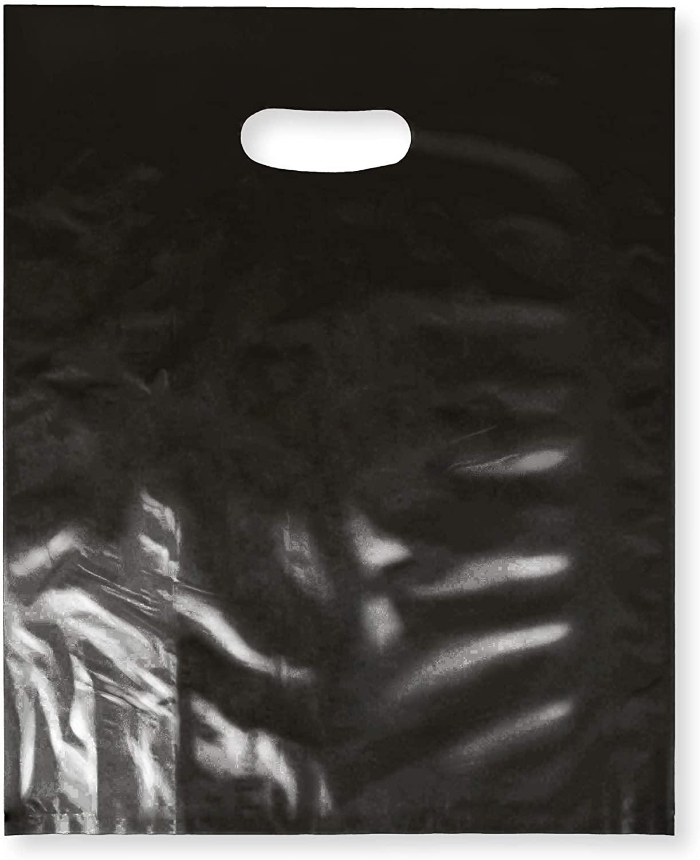 100 팩 12X15 과 함께 2 밀 두꺼운 상품 플라스틱 광택 있는 소매 가방 TTB 커트 손잡이 한 완벽한 쇼핑을위한 파티 선물 생일 어린이사 COLOR 블랙 100%재활용