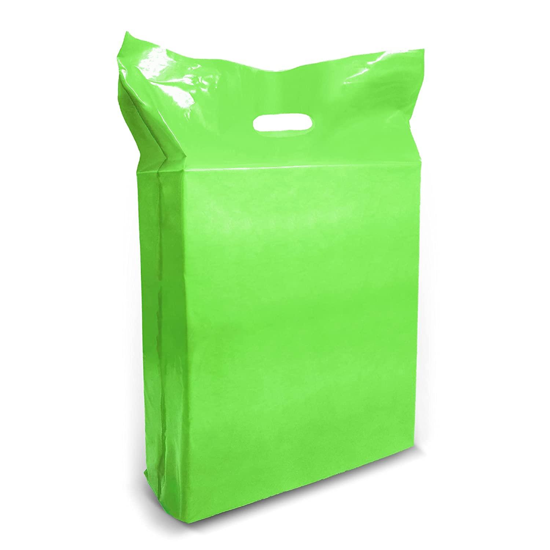 녹색 플라스틱 상품 쇼핑 가방-100 팩 15 18X1.25 밀 두께 2 에서 마치 커트 손잡이 에 대한 완벽한 소매 파티 선물 생일 파티 녹색 100%재활용