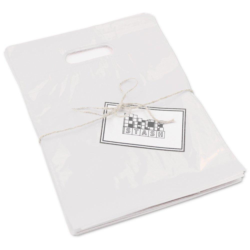 PACKSTASH(500QTY)9X12 서리로 덥은 반투명한 소매 플라스틱 상품 쇼핑 가방(작은)고급 눈물 저항하는 필름 두꺼운 손잡이 활기찬 광택 처리