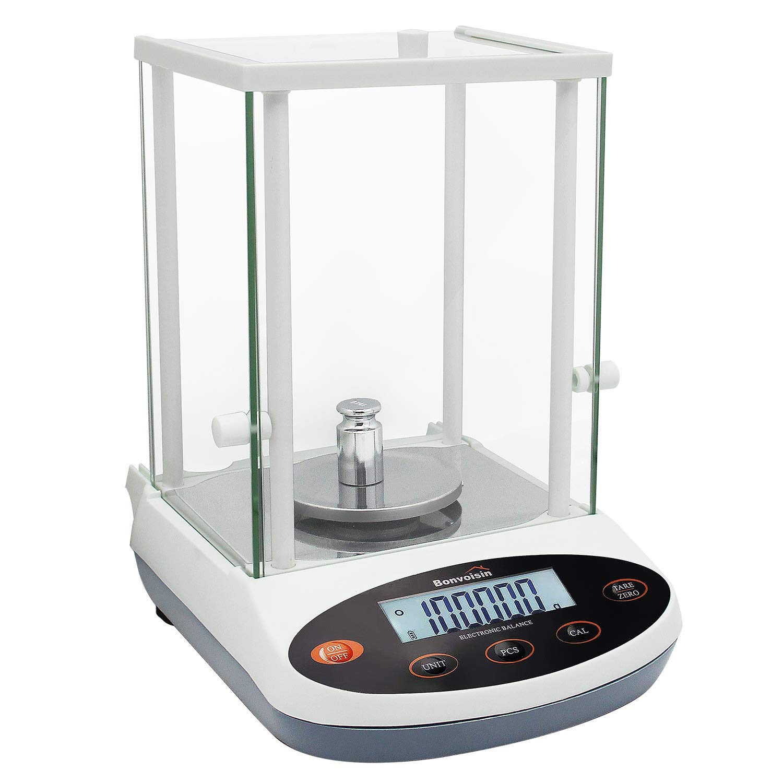 BONVOISIN 분석 균형 300GX1MG 정밀도 실험실 규모의 디지털 전자 가늠자 1MG 실험실 분석 가늠자 LCD 디스플레이 과학적인 규모와 바람막이 유리(300G 0.001G)