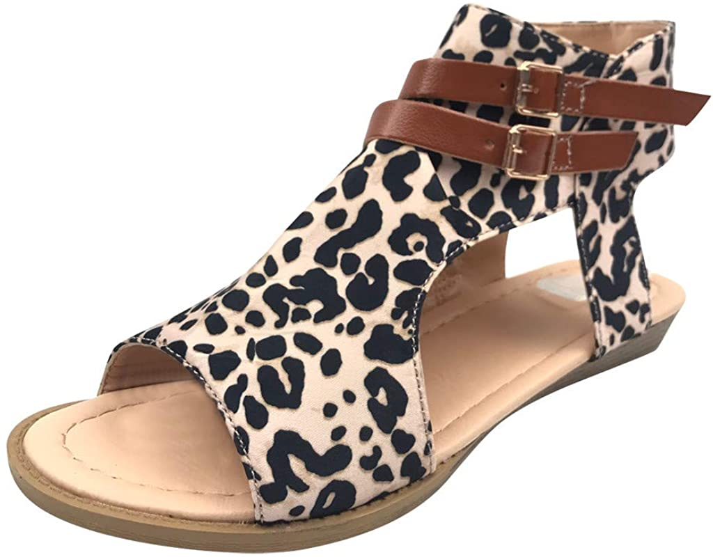 HLENLO 여름 숙녀 레오파드 플랫 미끄럼 방지 패션 샌들 컴포트 방수 슬라이드 여행   캠핑을위한 레트로 샌들