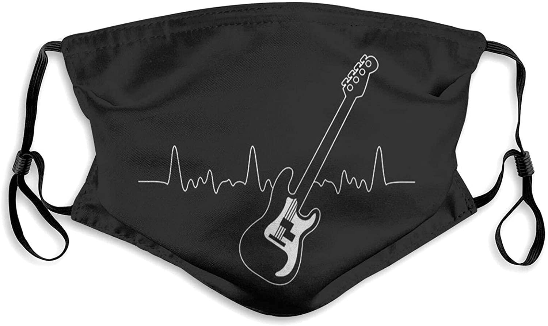 KKKM 마스크-하트 비트베이스 기타 러블리 만화 패턴 장식품 페이스 마스크 헤드 스카프 미디엄 블랙